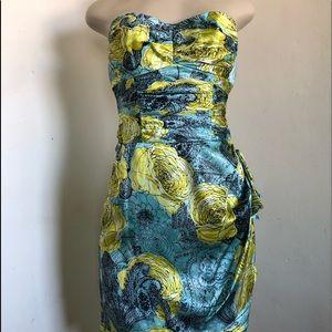 Nanette Lepore 2 Dress Blue Yellow Rose Satin